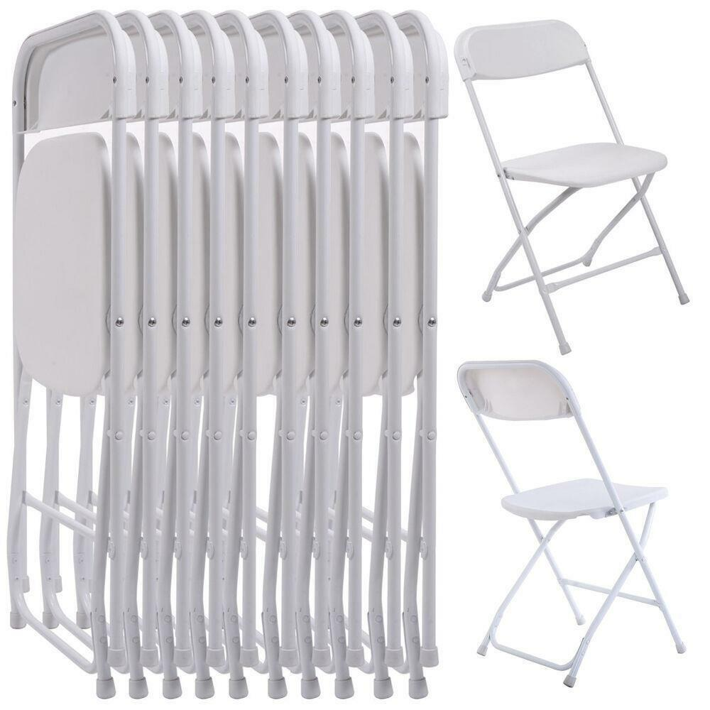 New Set Of 10 Plastic Folding Chairs Wedding Party Event