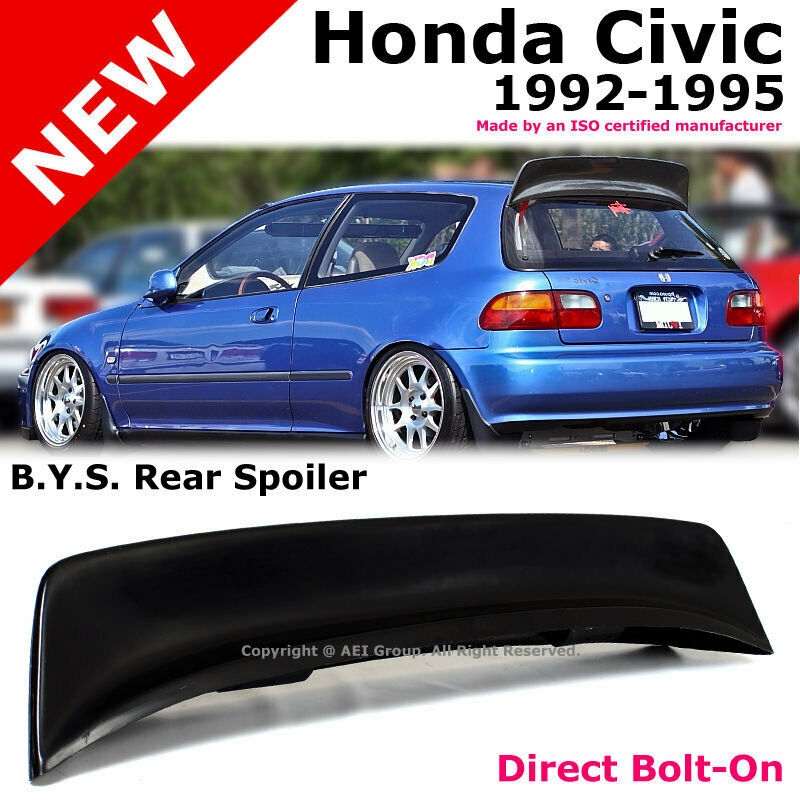 Civic Hatch: For Honda Civic 92-95 Hatch Back BYS Style Duckbill Black
