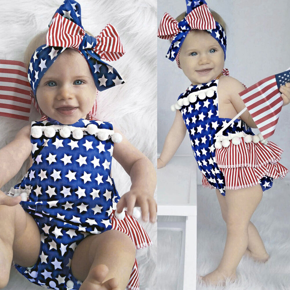 May The Fourth Be With You Baby Clothes: Newborn Baby Girl 4th Of July Star Stripe Flag Clothes
