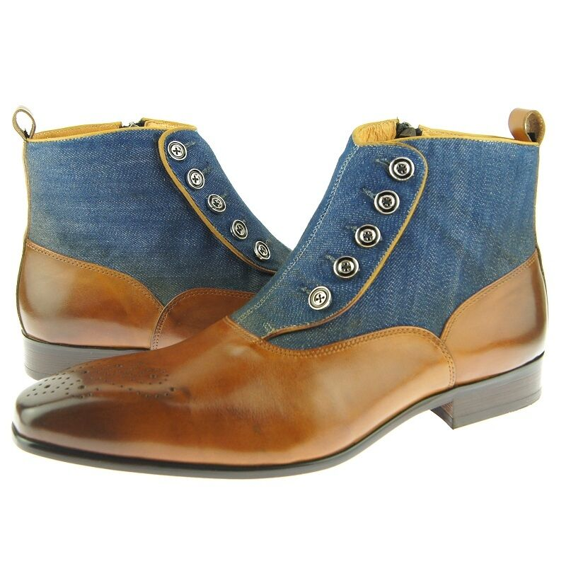 Carrucci Button Up Zip Boot Leather Men S Ankle Boots
