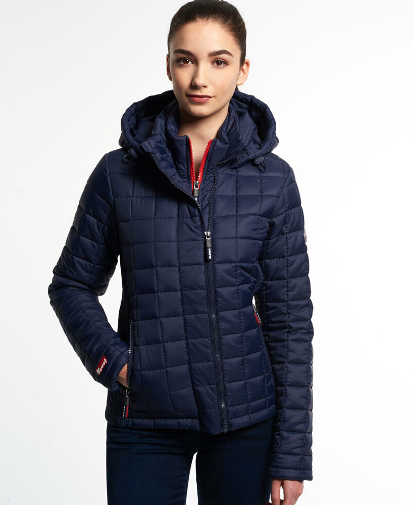 New Womens Superdry Hooded Box Quilt Fuji Jacket Ink Ebay
