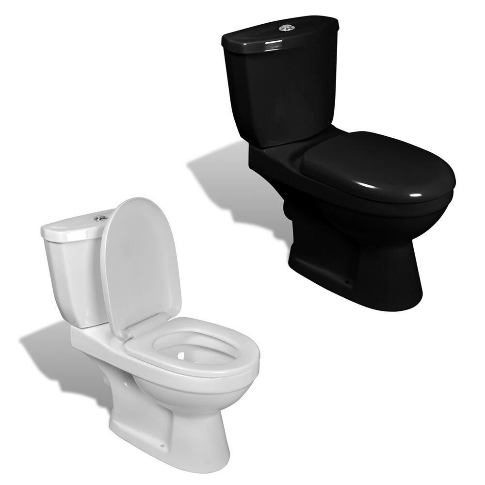 design stand toilette wc bodenstehend keramik sitz inkl sp lkasten wei schwarz ebay. Black Bedroom Furniture Sets. Home Design Ideas
