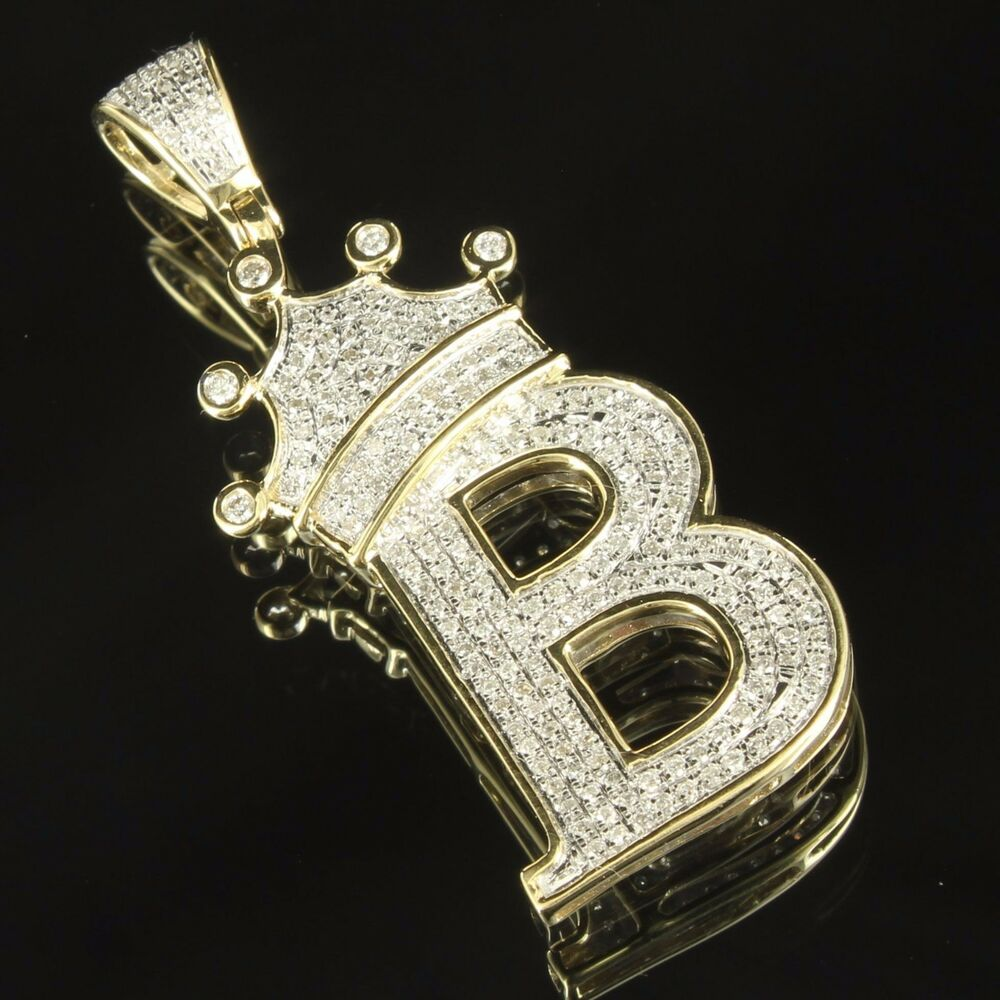 Initial B King Crown Pendant 10k Yellow Gold Letter ...