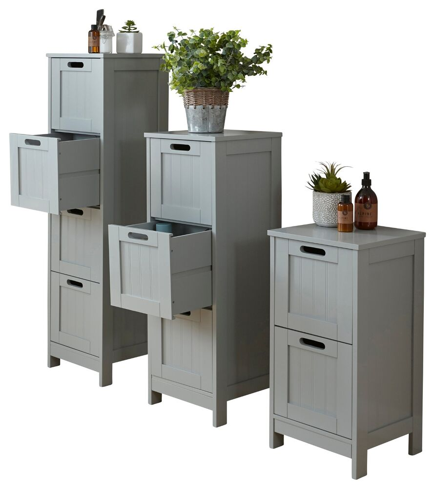 Colonial 2 Drawer Slim Bathroom Storage Unit Floor Cabinet Cupboard Grey