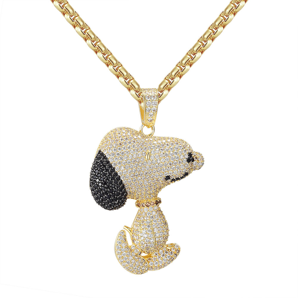 14k Gold Tone Snoopy Dog Pendant Charlie Brown Iced Out