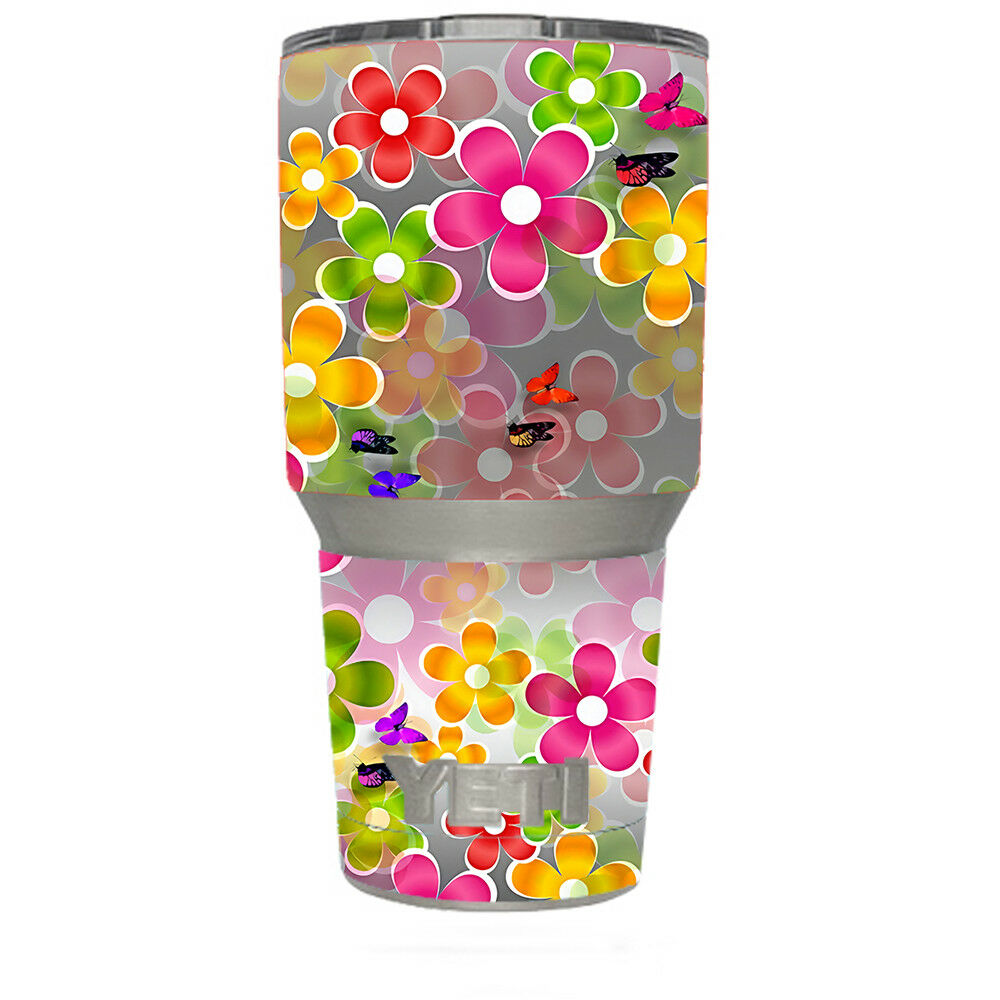 Details about skin decal for yeti 30 oz rambler tumbler butterflies and daisies flower