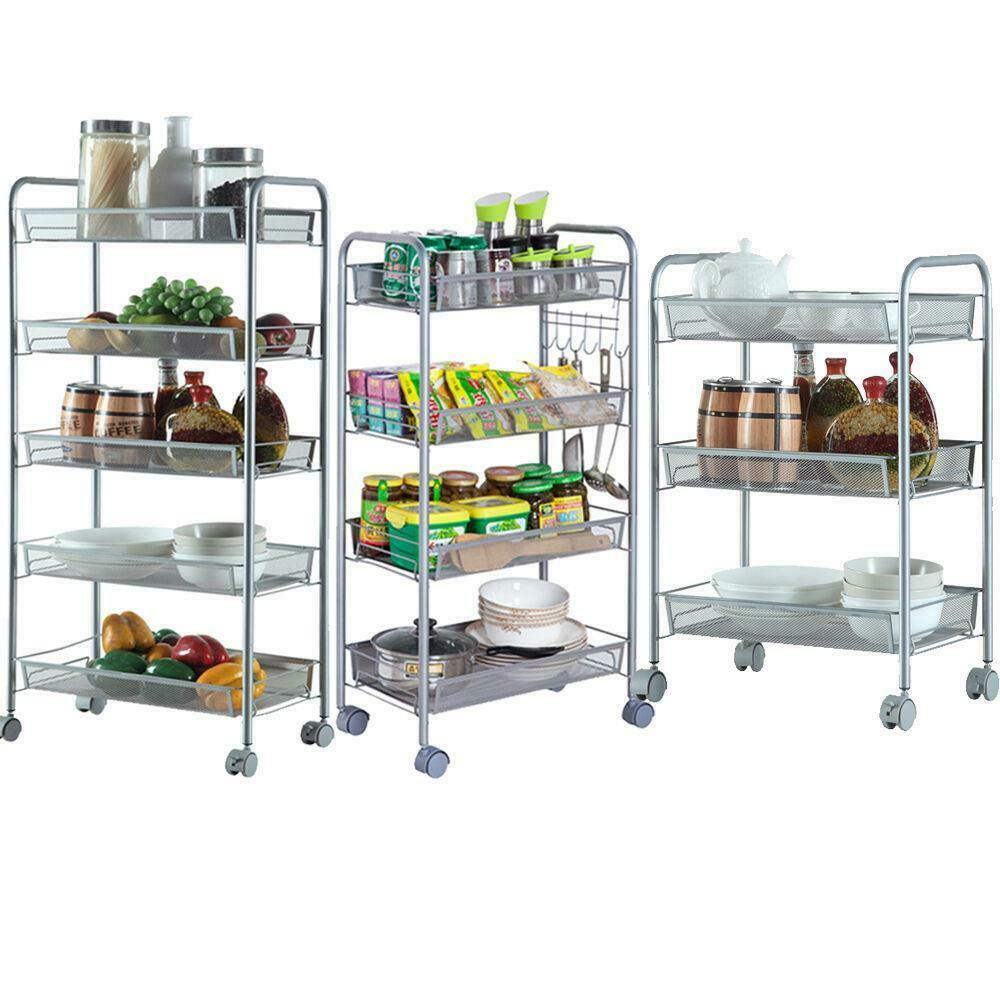 storage racks kitchen 3 4 5 tier organizer metal rolling storage shelving rack 2568