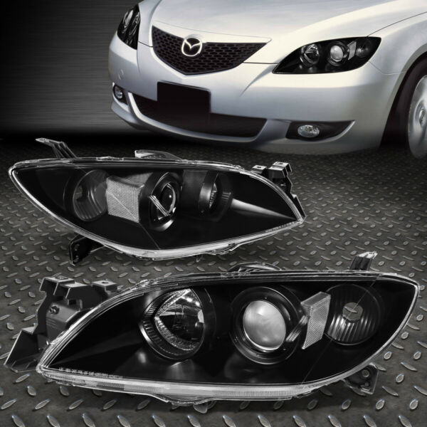 FOR 2004-2009 MAZDA 3 BLACK HOUSING CLEAR SIDE EURO PROJECTOR HEADLIGHT/LAMP SET
