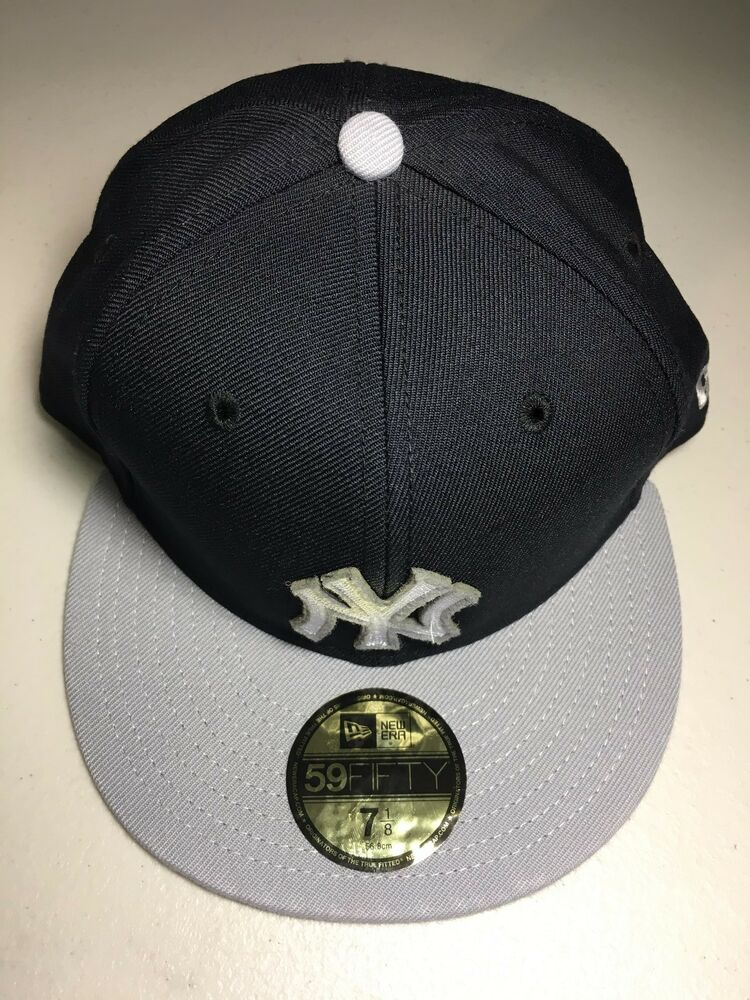 96536abbe97 Details about NEW ERA NEW YORK YANKEES 5950 BLACK WITH GRAY FLAT BRIM  CUSTOM FITTED HAT