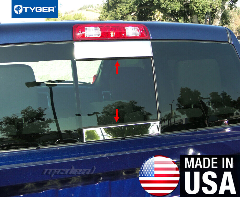 tyger fits 2014 2018 chevrolet silverado gmc sierra rear slider window trim 2pc ebay. Black Bedroom Furniture Sets. Home Design Ideas