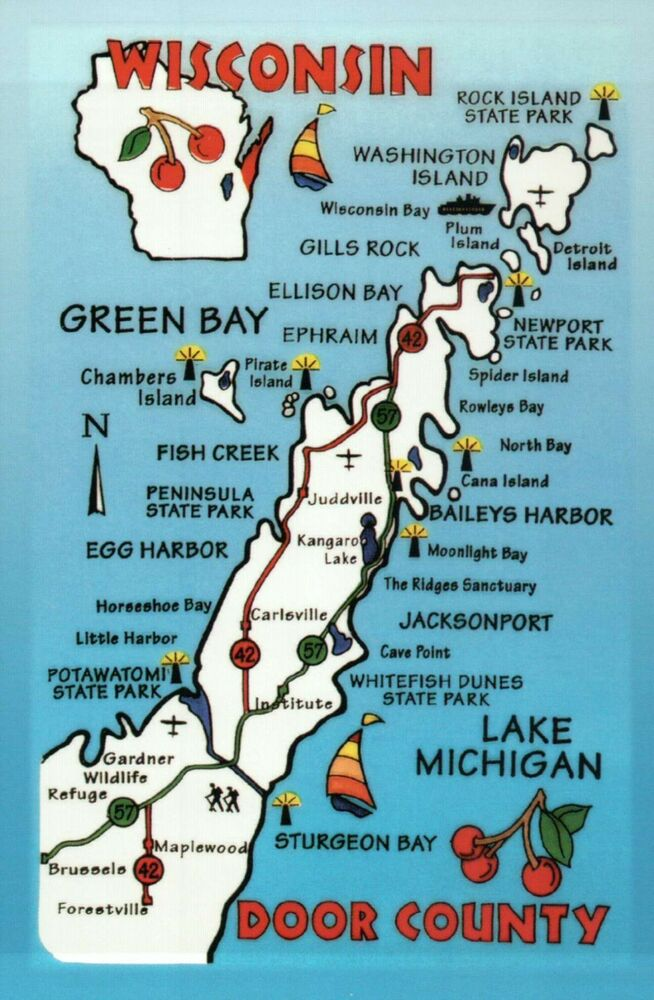Wisconsin Door County Green Bay Lake Michigan Cherry