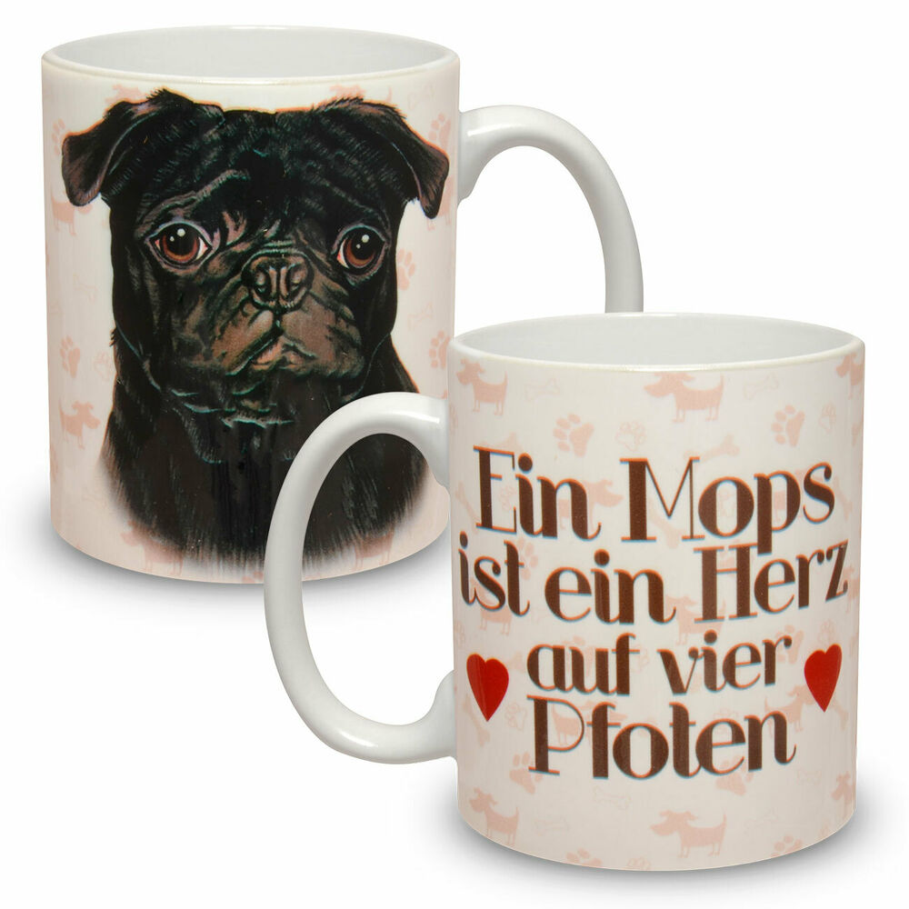 kaffee tasse becher mit motiv hund gro e xxl mops ebay. Black Bedroom Furniture Sets. Home Design Ideas