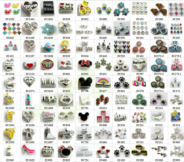 hot 10pcs Mix Style Floating Charms For Glass Living Memory Locket Free shipping