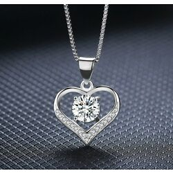 Kyпить 925 Sterling Silver Love Heart Cubic Zirconia CZ Pendant Necklace 18