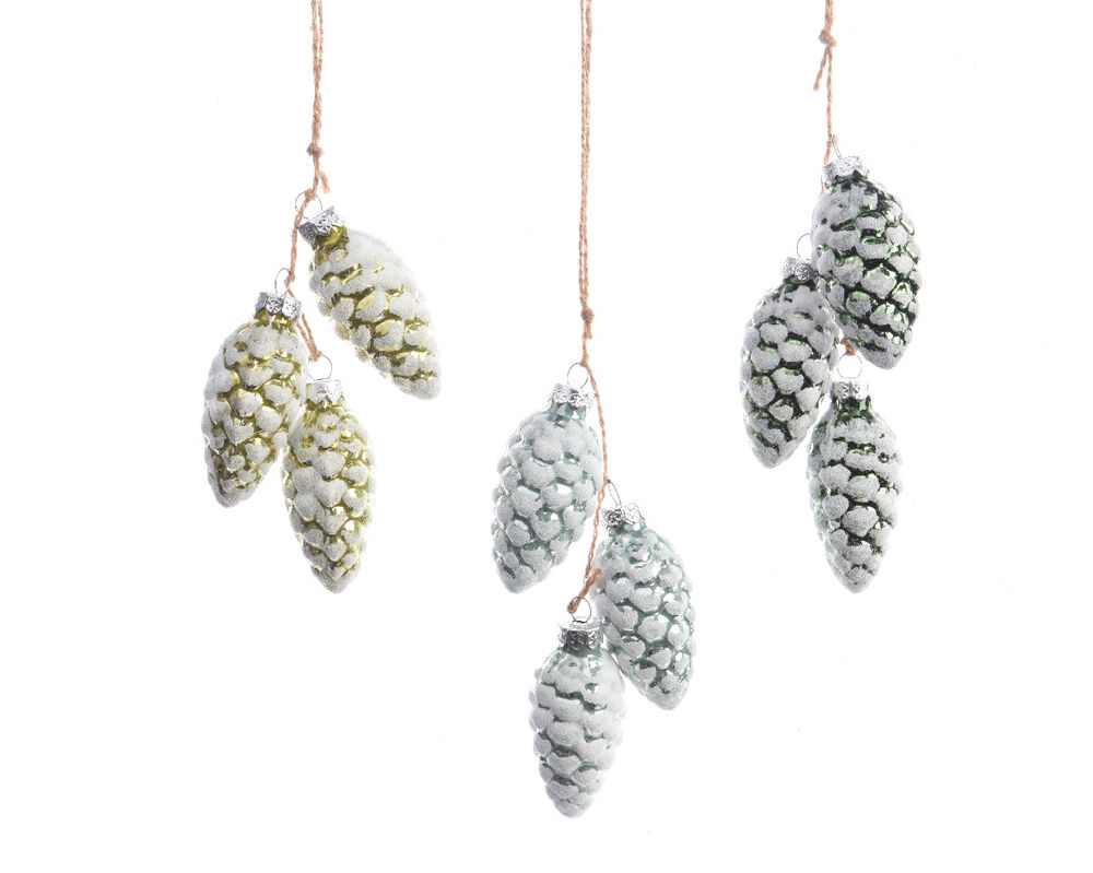 6 X GLASS Green Pine Cone Christmas Tree Baubles Hanging