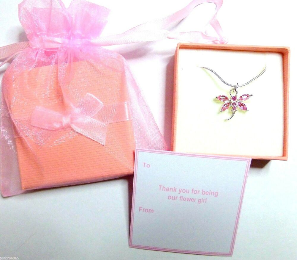 Dragonfly Necklaces Wedding Flower Girl Bridesmaid Gift Gift Tag ...
