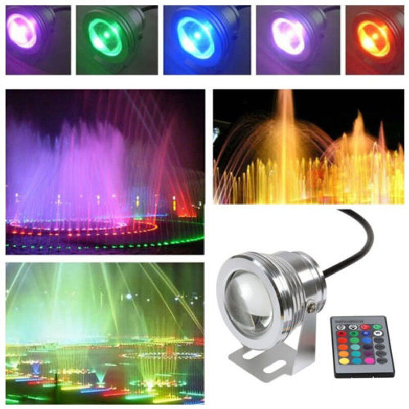 10w 12v underwater flood led spot light multi color change with remote control ebay. Black Bedroom Furniture Sets. Home Design Ideas