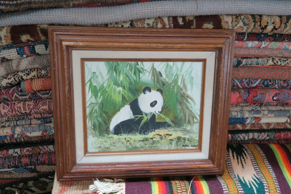 Vintage Signed Kent Choy Oil On Panel Board Panda Painting 8x10