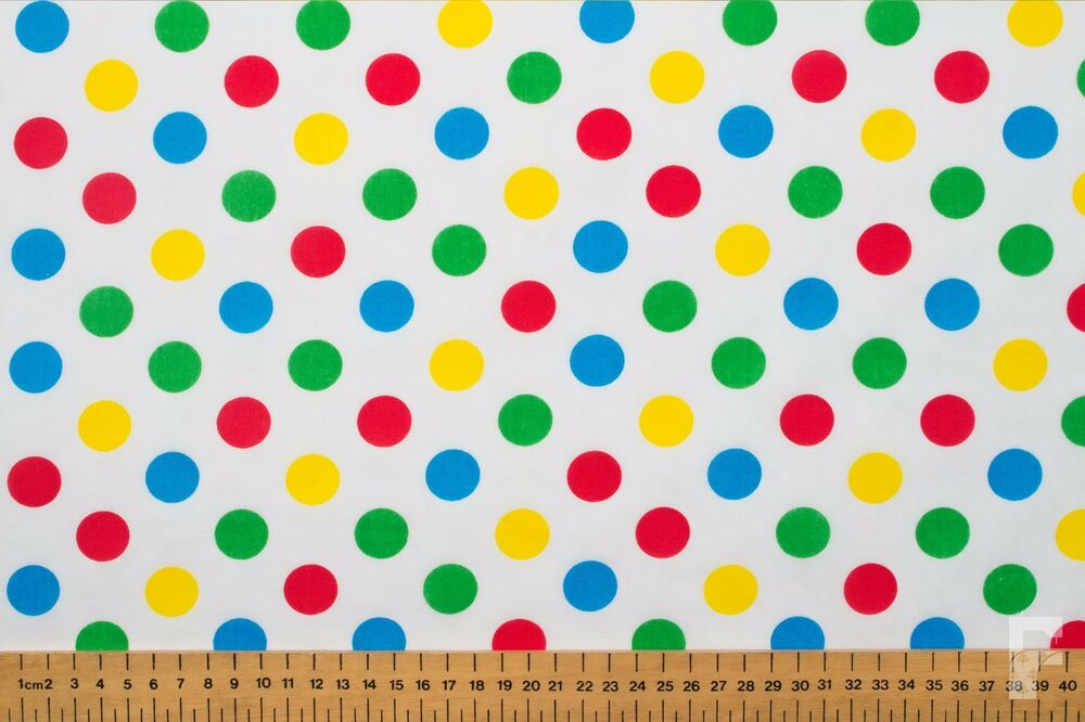 MULTI COLOURED SPOTS ON WHITE POLY COTTON FABRIC -PUDSEY ...