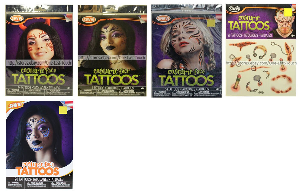 53fb0973236ae Details about SAVVI* Face+Body TEMPORARY TATTOOS Costume Accessory *YOU  CHOOSE* Halloween 1/2