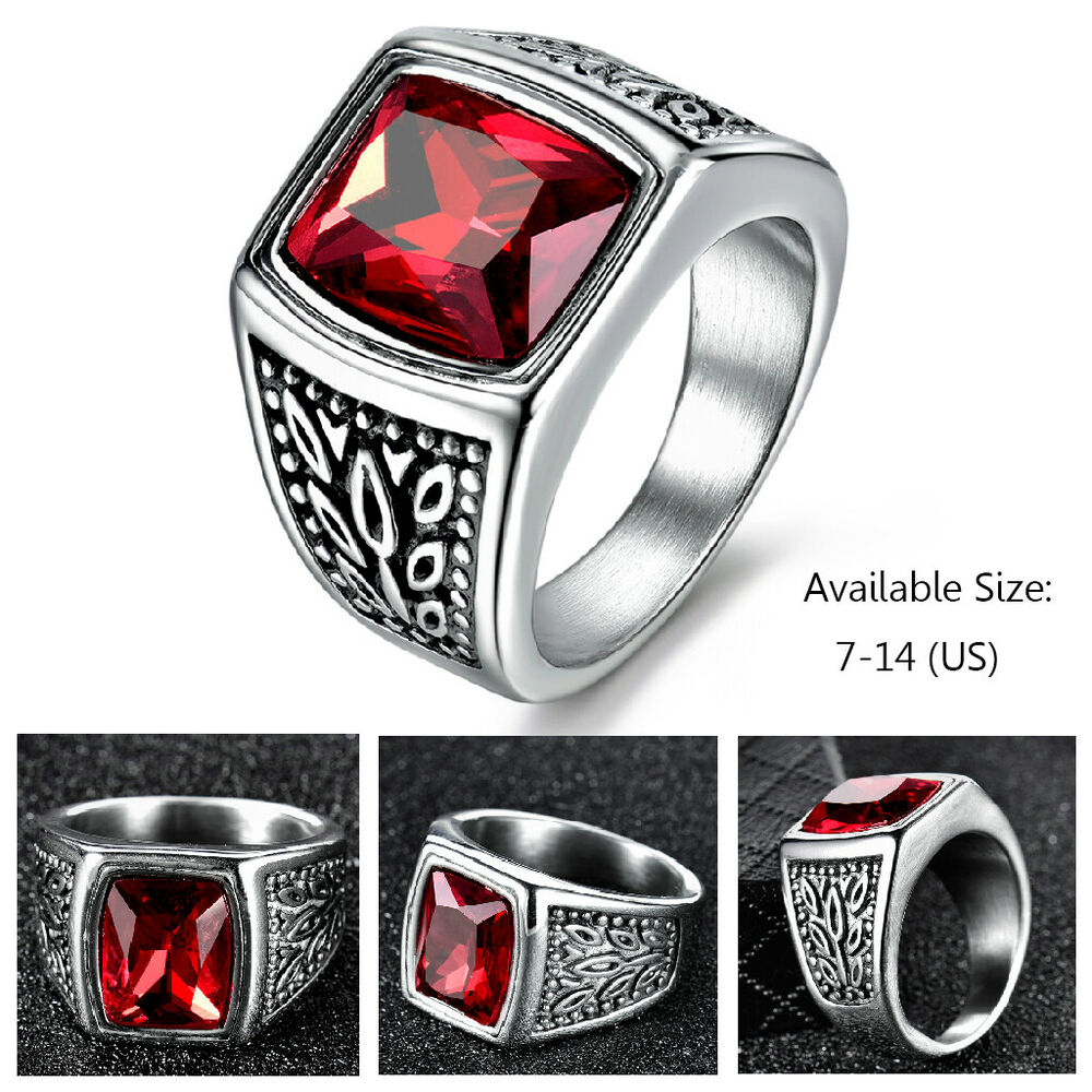 Garnet Ring Bands: Mens Square Red Garnet Ruby Stainless Steel Solitaire