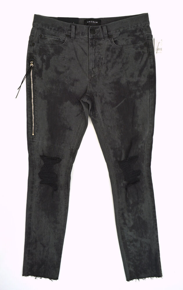 Details about NWT PACSUN Mens Stacked Skinny Gray Black Shredded Knee Raw  Side Zip Jeans 30x32 8b416af8071b