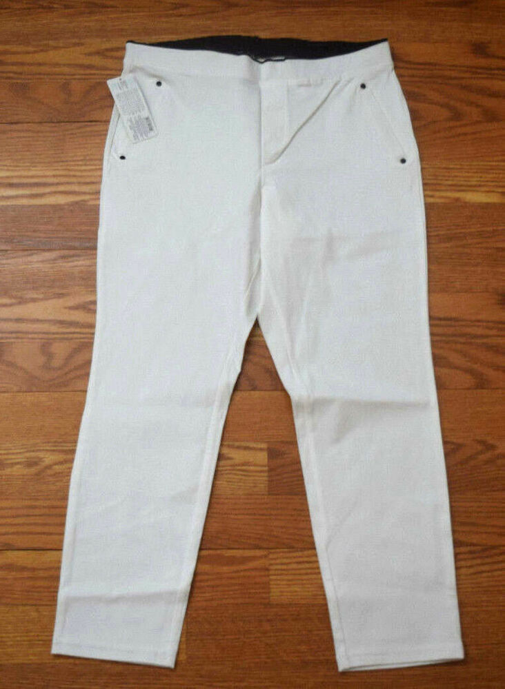 a16c8f6872929 Details about NWT Womens JUNE & DAISY Stretch Elastic Waist Smooth Twill  Capris White Size S