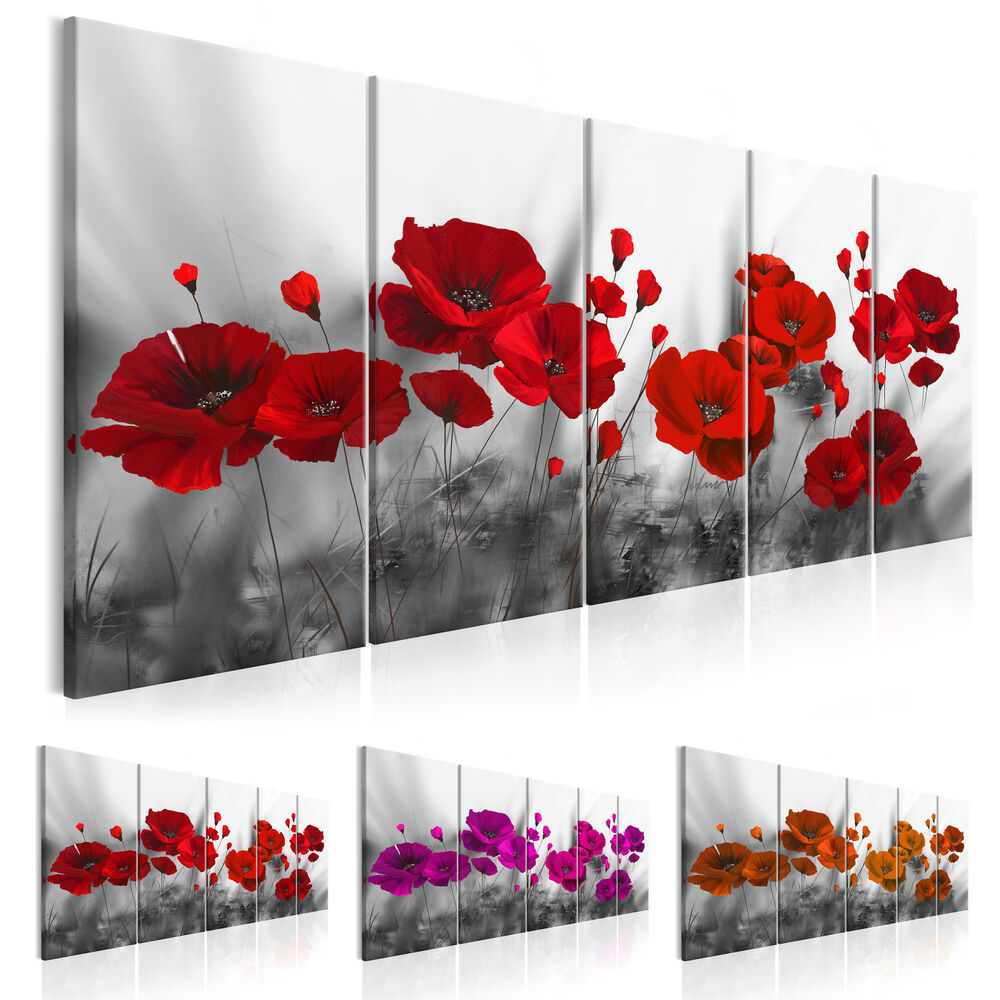 wandbilder xxl mohn blumen leinwand bild wiese rot grau wohnzimmer b a 0352 b n ebay. Black Bedroom Furniture Sets. Home Design Ideas