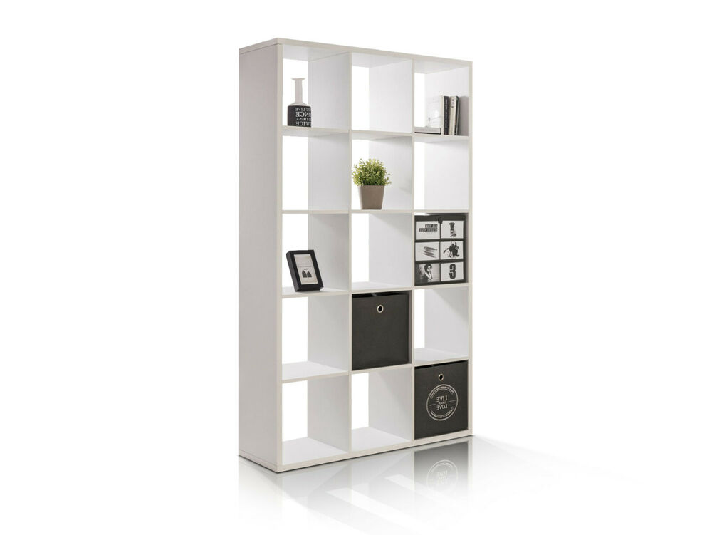 maxi raumteiler offenes regal b cherregal 15 offene f cher 107x176x33 wei eiche ebay. Black Bedroom Furniture Sets. Home Design Ideas