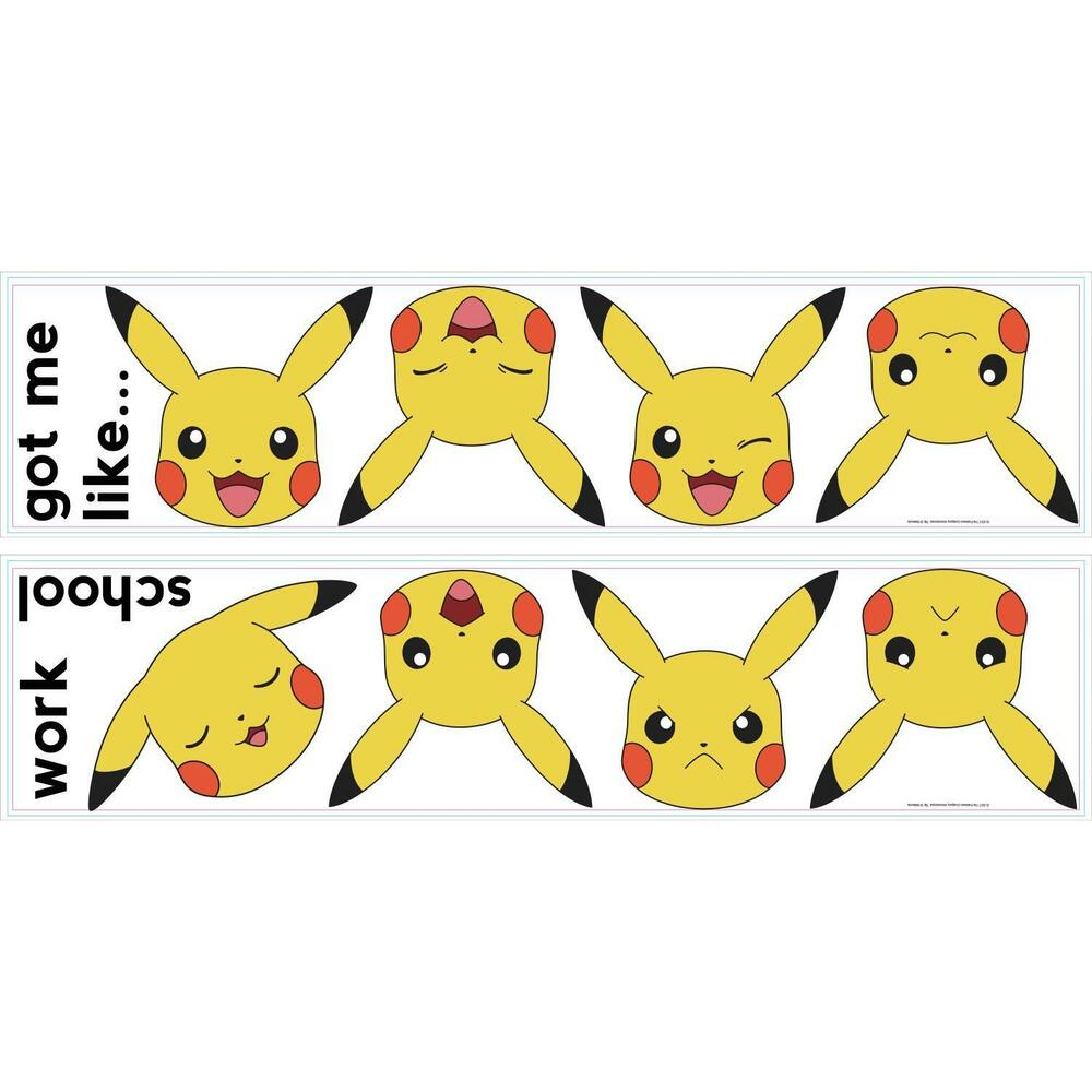 PIKACHU FACES WALL STICKERS 12 New Pokemon Decals Yellow Nintendo ...