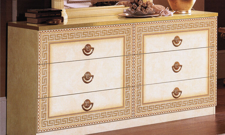 gro e kommode herrenkommode mit schubladen beige gold hochglanz stilm bel italy ebay. Black Bedroom Furniture Sets. Home Design Ideas