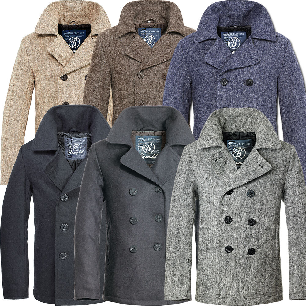 brandit pea coat herren woll jacke woll mantel kurzmantel winterjacke cabanjacke ebay. Black Bedroom Furniture Sets. Home Design Ideas