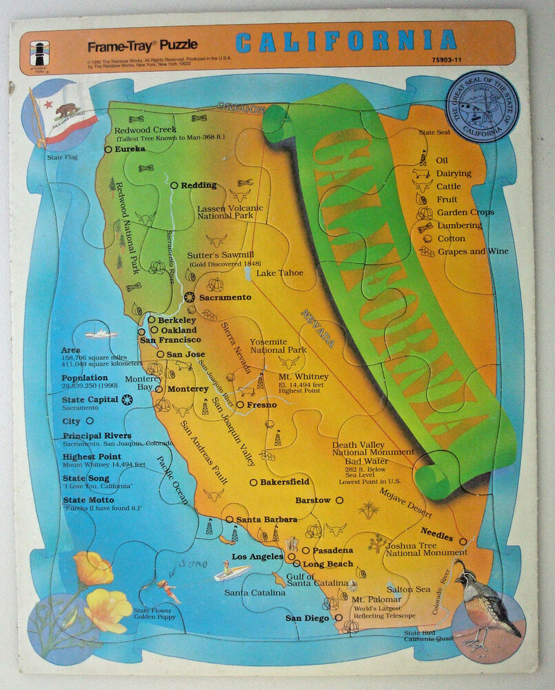 frame tray jigsaw puzzle 20 pc Rainbow Works California State map