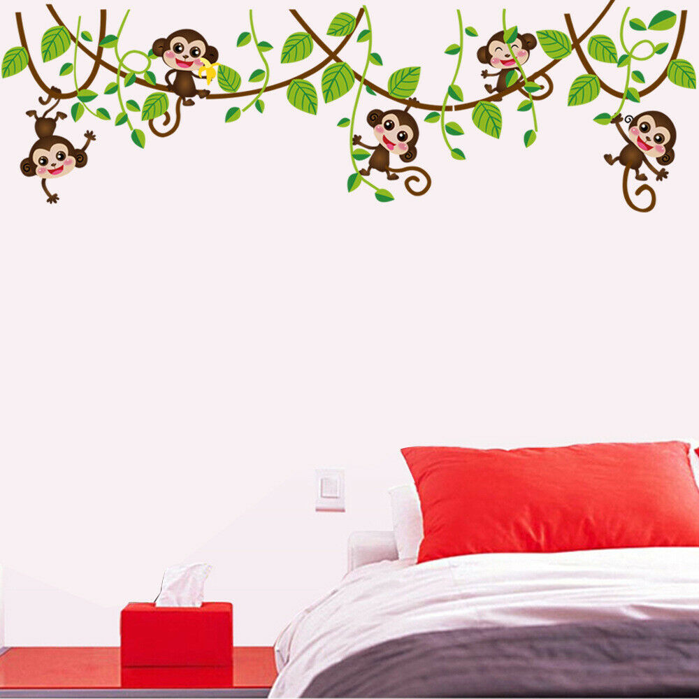 Details About Removable Wall Sticker Jungle Monkey Tree Kids Room Nursery  Mural Decor Decal