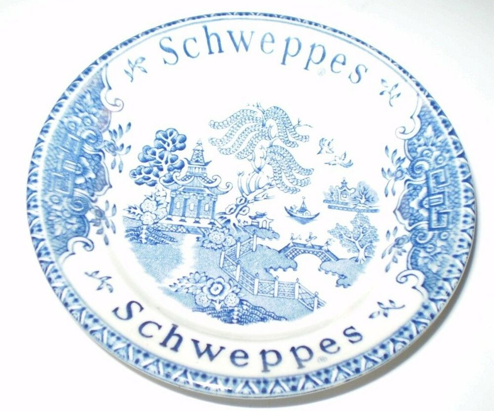 Details About Vintage Schweppes Blue Willow Design Trinket Dish By Unicorn Tableware England
