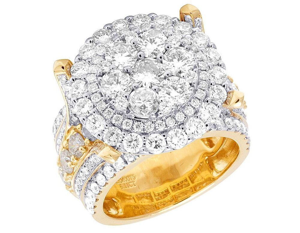 men 39 s real 10k yellow gold genuine diamond cluster pinky. Black Bedroom Furniture Sets. Home Design Ideas
