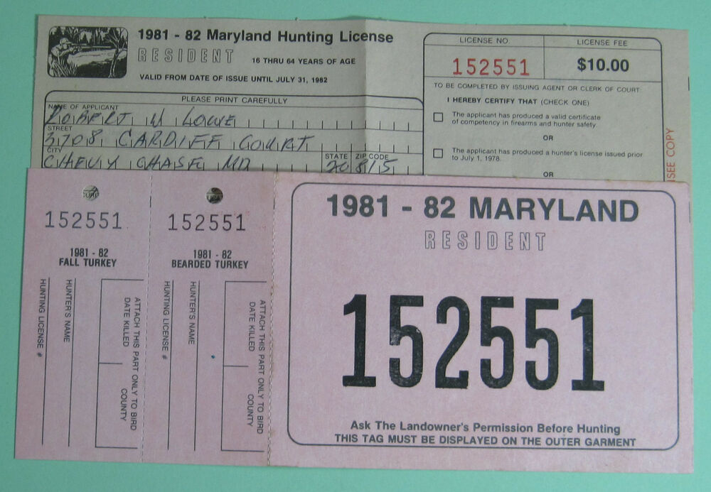 1981 maryland resident turkey hunting matching license & back tag
