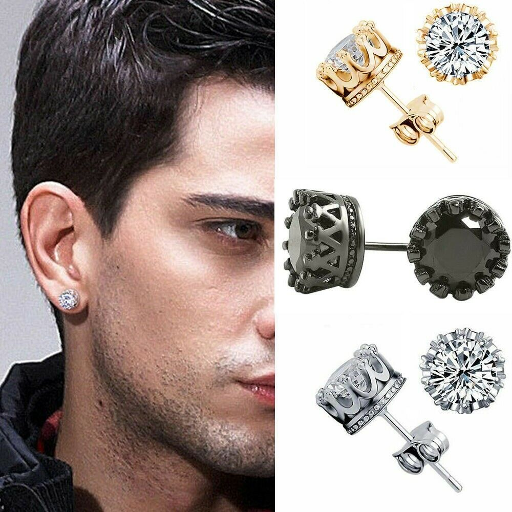 10mm men women sterling silver post stud crown cubic