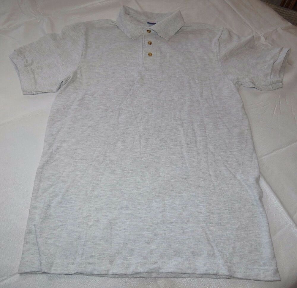 af35e537 Details about Hanes Stay Clean adult XXL 50-52 2xl mens lt grey ht short  sleeve polo shirt NOS