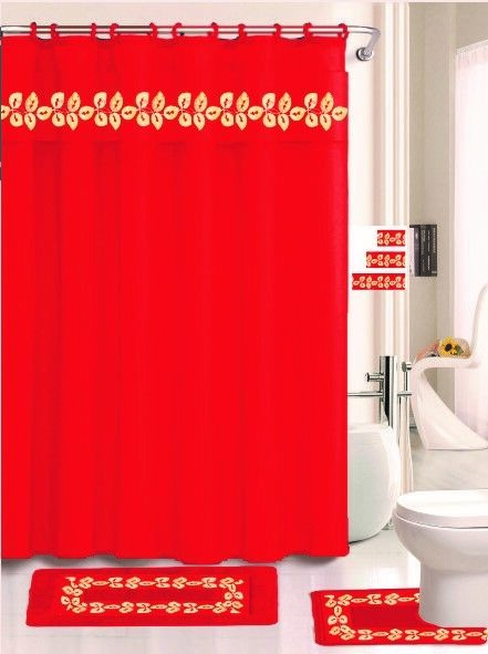 Details About Elena Red 18 Pieces Shower Curtain 2 Rugs 3 Piece Towel Set 12 Rings