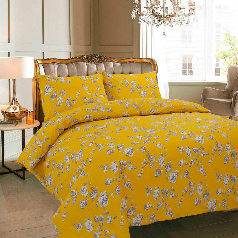 Floral Mustard Duvet Cover With Pillow Case Quilt Cover