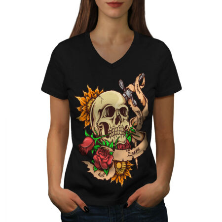 img-Dead Head Rose Knife Stab Women V-Neck T-shirt NEW | Wellcoda
