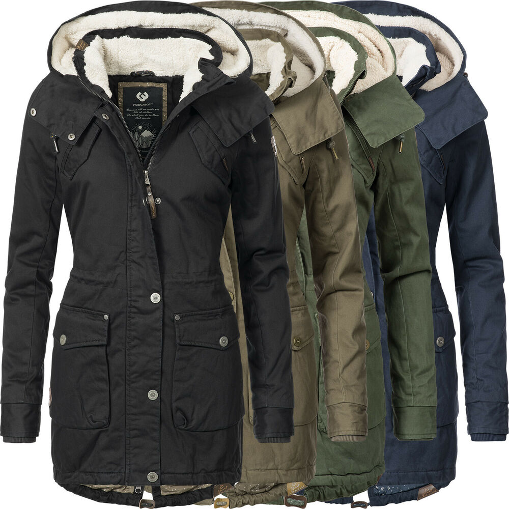 ragwear damen winter jacke kurz mantel parka teddy fleece kapuze ym clancy ebay. Black Bedroom Furniture Sets. Home Design Ideas