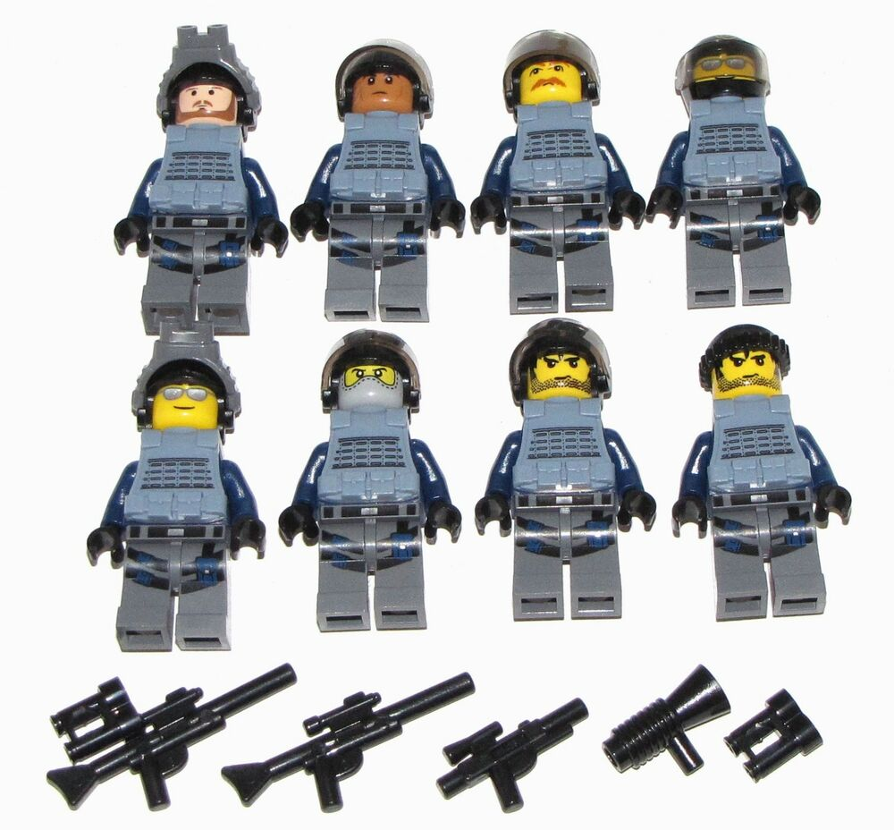 Lego Swat Team Minifigures Men Figures Army Police Squad Military