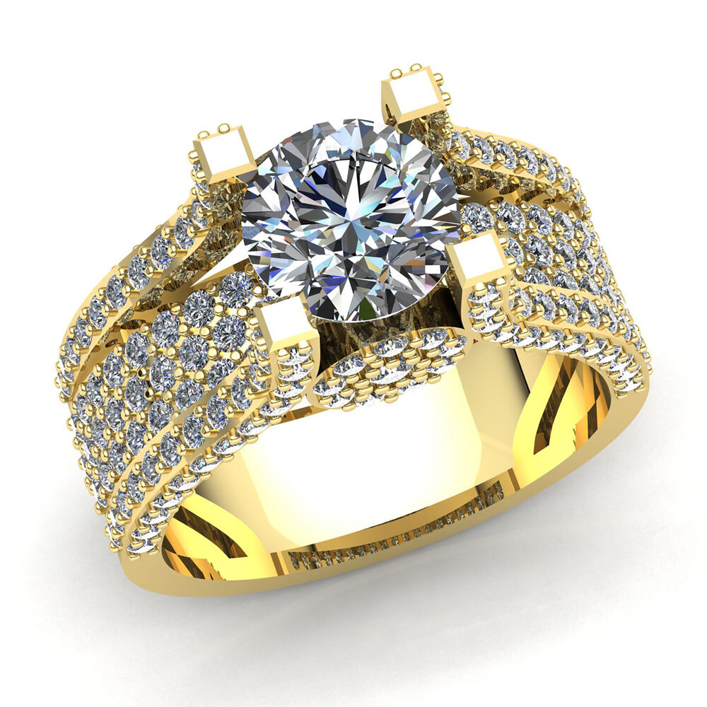 Engagement Rings In Gold: Real 3carat Round Cut Diamond Ladies Accent Solitaire