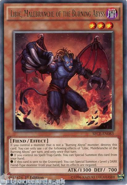 SECE-EN083 Libic, Malebranche of the Burning Abyss Rare 1st Edition Mint YuGiOh
