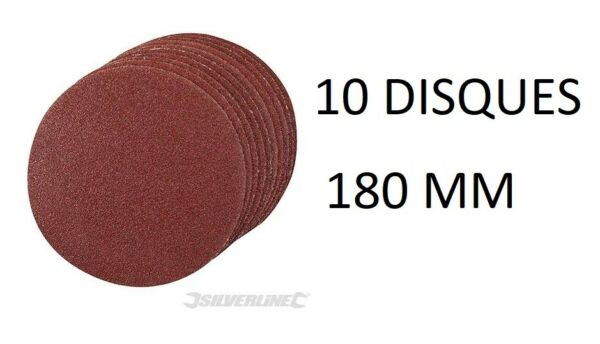 10 DISQUE ABRASIF AUTO AGRIPPANT 180 MM GRAIN 60 80 120 240 PONCAGE PONCE