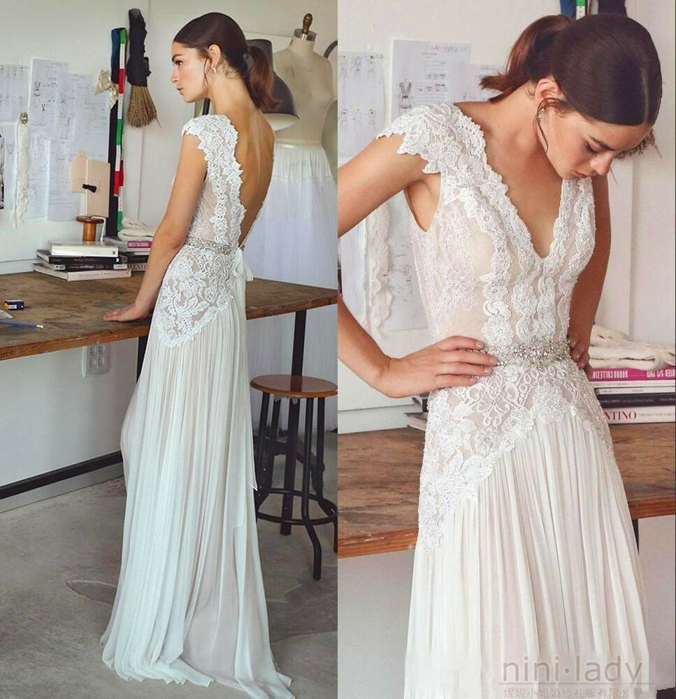 Simple Elegant Open Back Long Sleeve Wedding Dress: Neu Strand Hochzeitskleider Chiffon Spitze Boho Brautkleid