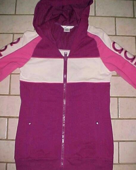 Details about ADIDAS Pink Full Zip TRACK Hoodie JACKET 3 White Stripes Womens Size Small