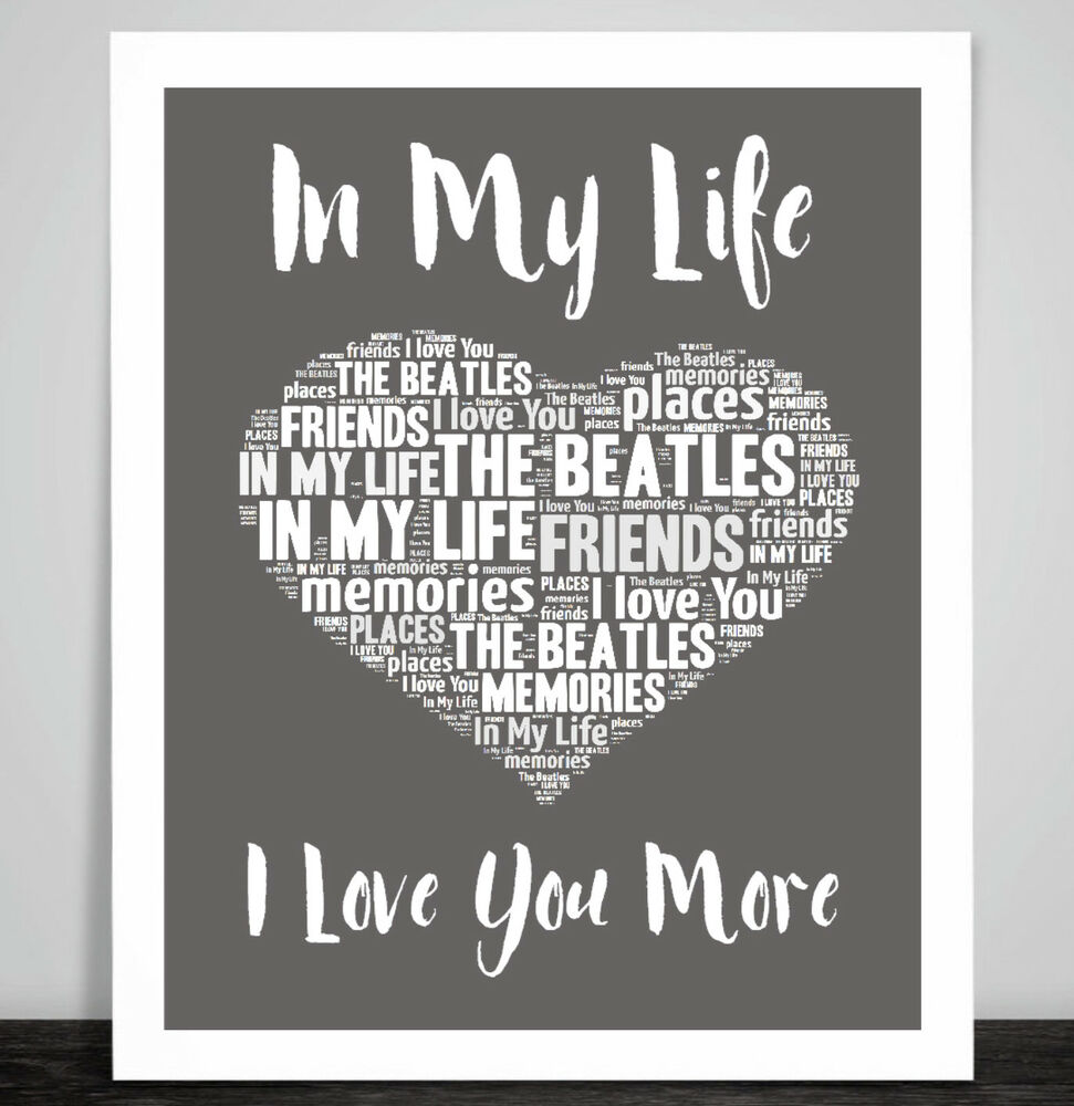 The Beatles In My Life Love Song Music Lyrics Print Heart ...